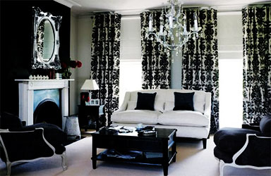Black and white home decor living in black and white for Black living room decorating ideas